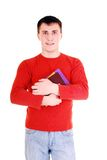 Junger Mann mit Büchern. stockbild