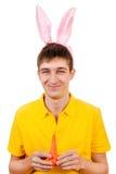Junger Mann mit Bunny Ears stockbilder