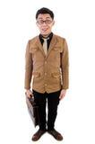 Junger Mann mit dem braunen Aktenkoffer lokalisiert auf Weiß Stockfotos