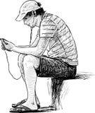 Junger Mann mit dem Handy Stockfotografie