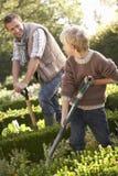 Junger Mann mit dem Kind, das im Garten arbeitet Stockbilder