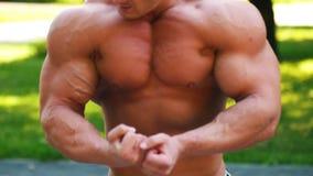 Junger Mann mit dem muskulösen Torso aufwärmend im Park stock footage