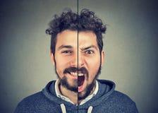 Junger Mann mit doppeltem Gesichtsausdruck Stockbild