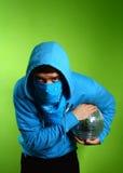 Junger Mann mit einem discoball Lizenzfreies Stockfoto