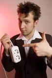 Junger Mann mit einem Draht Lizenzfreie Stockfotografie