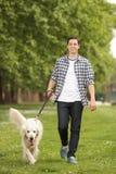 Junger Mann mit einem Hund, der in einen Park geht Stockfotografie