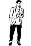 Junger Mann mit einem kleinen Bart, der eine Jacke trägt Stockbild