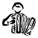 Junger Mann mit einem Knopfakkordeon in seinen Händen stock abbildung