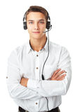 Junger Mann mit einem Kopfhörer Stockbild