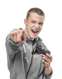 Junger Mann mit einem Steuerknüppel lizenzfreie stockfotografie