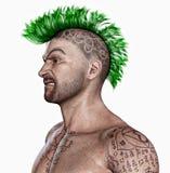Junger Mann mit einer Punkhaarart und Tätowierungen Stockbild