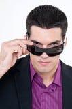 Junger Mann mit Gläsern Lizenzfreie Stockbilder
