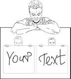 Junger Mann mit Ihrem Text Stockfotografie
