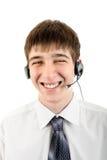 Junger Mann mit Kopfhörer Stockfoto
