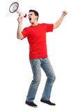 Junger Mann mit Megaphon Stockfotos