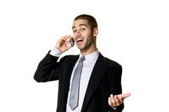 Junger Mann mit Mobiltelefon Stockbild