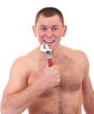 Junger Mann mit muskulöser Karosserie stockbilder
