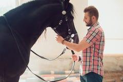 Junger Mann mit Pferd Des Herbstes Szene draußen Stockfotos