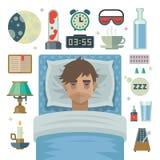 Junger Mann mit Schlafproblemschlaflosigkeit und -einzelteilen Lizenzfreie Stockfotos