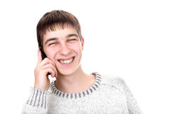 Junger Mann mit Telefon Stockfotografie