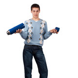 Junger Mann mit Thermos Lizenzfreie Stockbilder
