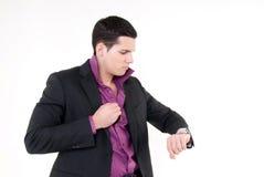 Junger Mann mit Uhr Lizenzfreies Stockfoto