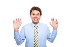 Junger Mann sehr überrascht, lustiges Gesicht bildend Lizenzfreie Stockfotos
