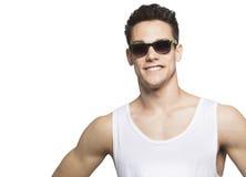 Junger Mann-tragende Schutzbrille im Pullunder Stockbild