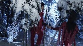 Junger Mann und die Frau, die in den roten Kostümen gekleidet wird, gehen in Wald des verschneiten Winters stock footage