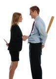 Junger Mann und Frau, die Hände rüttelt Stockbild