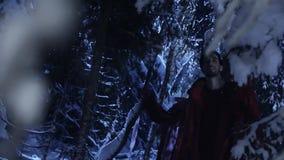 Junger Mann und Frau wandern in Wald des verschneiten Winters nachts stilles stock footage