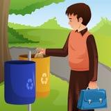 Junger Mann-werfender Abfall in Mülleimer-Illustration vektor abbildung