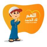 Junger moslemischer Junge, der für Allah betet Stockbilder
