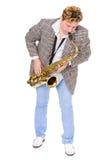 Junger Musiker in einer checkered Jacke Stockbild