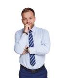 Junger nachdenklicher Geschäftsmann lokalisiert auf Weiß Stockbild