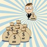 Junger netter Geschäftsmann hat die Ausgaben, die größer als Einkommen sind Stockfoto
