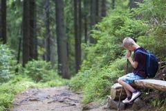 Junger netter Kinderjunge mit Rucksack steht das müde Lehnen auf dem Stock still, der an durch Baumstammholzbank der hellen Somme stockbilder