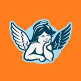 Junger netter Mädchenengel mit Flügeln Stockfoto