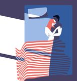 Junger Paarmorgen im Schlafzimmer stockbilder