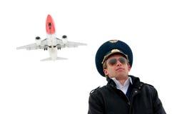 Junger Pilot in den Gläsern getrennt mit copyspace Lizenzfreies Stockfoto