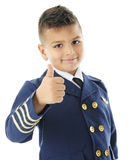 Junger Pilot Gestures Daumen oben Lizenzfreie Stockfotografie