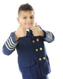 Junger Pilot Gestures Doppel-Daumen oben Lizenzfreie Stockfotografie