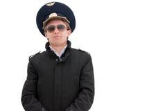 Junger Pilot getrennt mit copyspace Lizenzfreie Stockfotografie