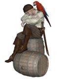 Junger Pirat, der auf einem Fass sitzt Lizenzfreie Stockfotos