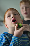 Junger roter behaarter Junge mit Gurke Stockbild