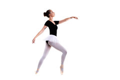 Junger schöner Balletttänzer lokalisiert über weißem Hintergrund Stockfotos