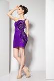 Junger schöner Brunette im purpurroten Kleid auf Weiß Lizenzfreie Stockfotografie