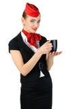 Junger schöner Flugbegleiter Stockfotografie
