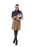 Junger School-marm mit dem Buchlächeln Lizenzfreies Stockfoto