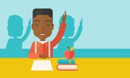 Junger schwarzer Student, der seine Hand anhebt lizenzfreie abbildung